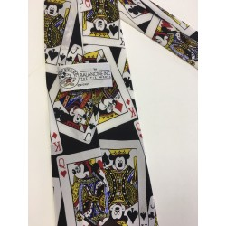Disney Silk Neck Tie Playing Cards Minnie Mickey Mouse - Cravate